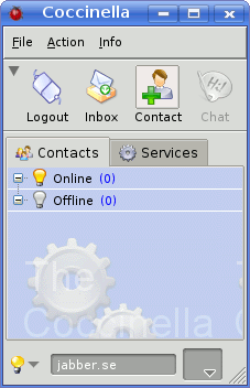 Highlighted Add Contact button in contact list of Coccinella