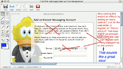 Adium setup assistant with geeky service selection