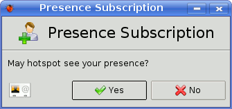 Subscription request from AIM contact