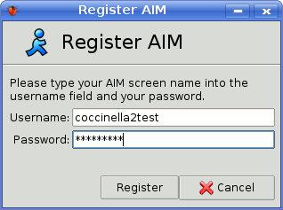 Register AIM account to transport