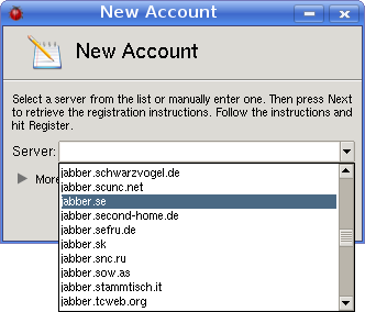 Select instant messaging server for the new account